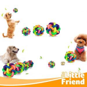 mainan anjing kucing bola karet lonceng pelangi 2