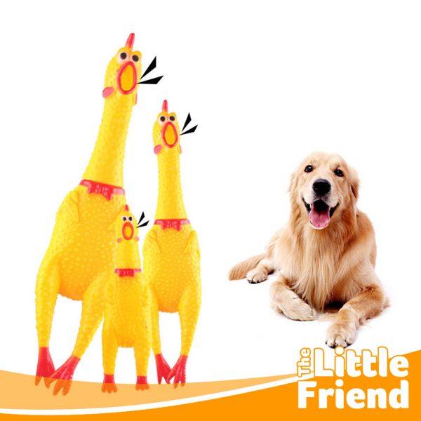 mainan gigitan anjing bentuk ayam karet 1